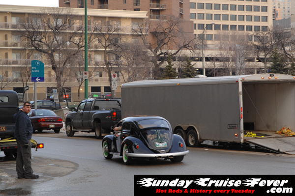 Sour Kraut rat bug pulling away from the Winnipeg Convention Centre